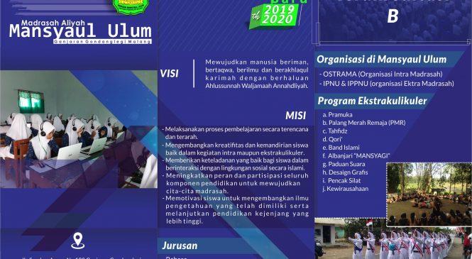 Penerimaan Peserta Didik Baru Tahun Pelajaran 2019/2020 MA Mansyaul Ulum
