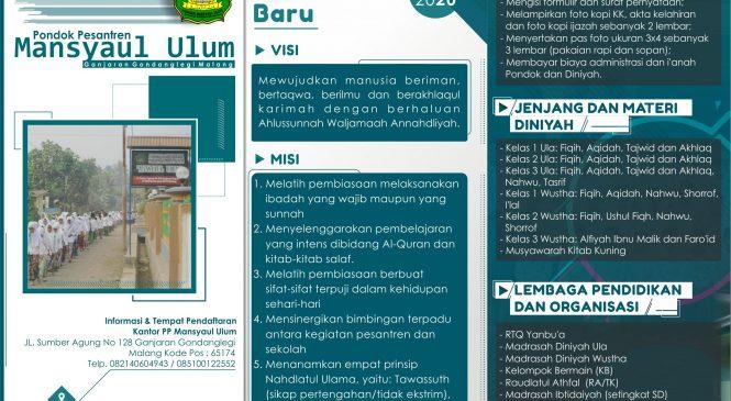 PENERIMAAN SANTRI DAN SISWA BARU TAHUN PELAJARAN 2019-2020